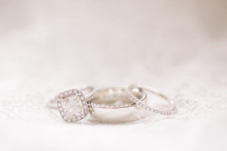 Classic diamond engagement ring and wedding bands: www.stylemepretty... Photogra...