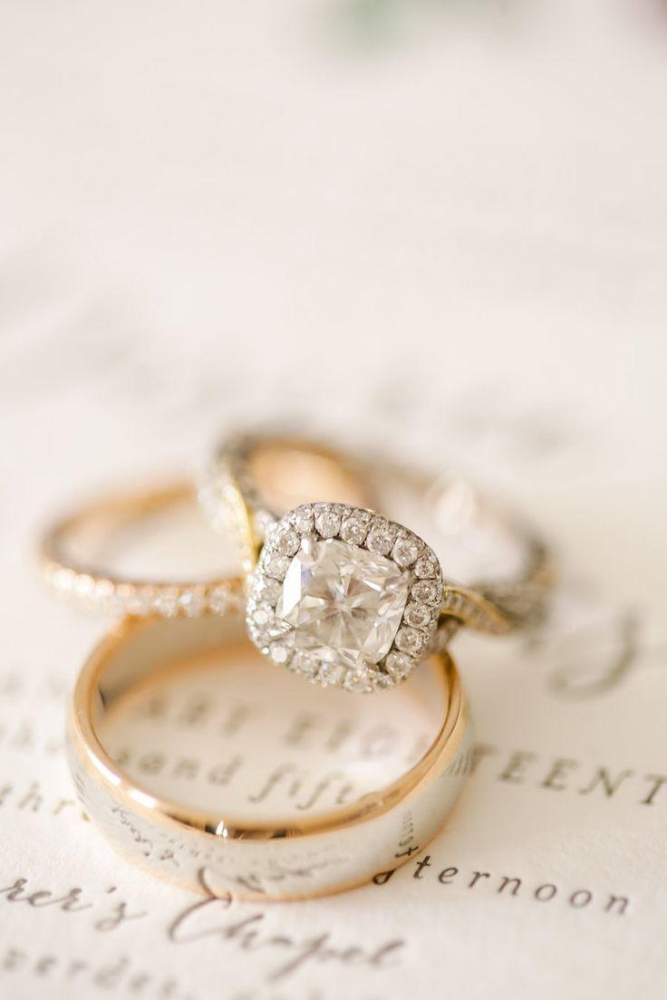 Cushion-cut diamond in a halo setting: Photography: Brandon Kidd Photography - w...