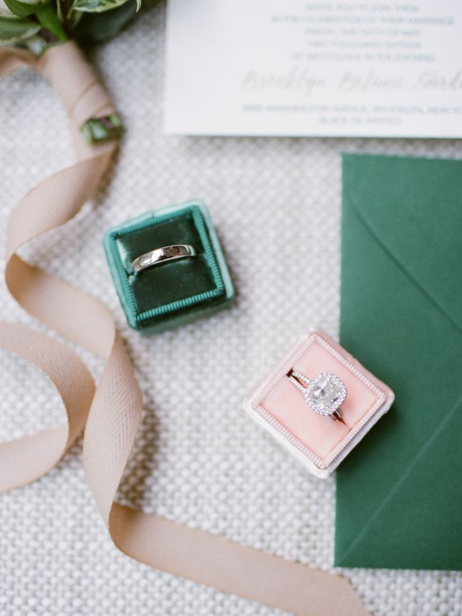 Cushion-cut diamond ring in a halo setting: www.stylemepretty... Photography: Sa...