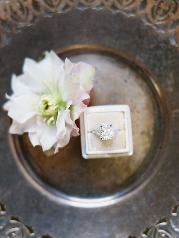 Cushion-cut diamond ring in a halo setting: www.stylemepretty... Photography: Va...