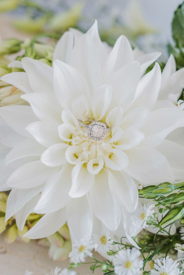 Cushion-cut engagement ring in a halo setting: www.stylemepretty... Photography:...