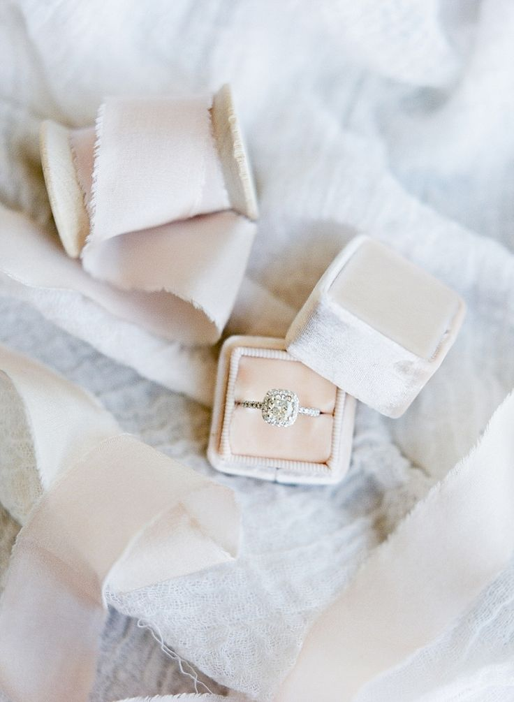 Cushion cut with halo setting in a blush the Mrs. Box: Photography: Julie Paisle...
