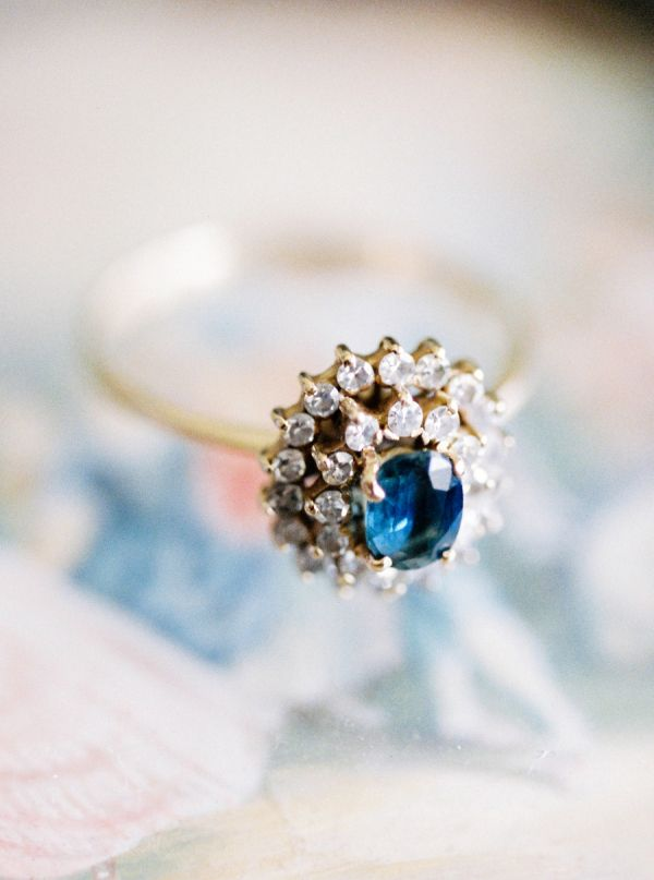 Double halo blue diamond ring: www.stylemepretty...