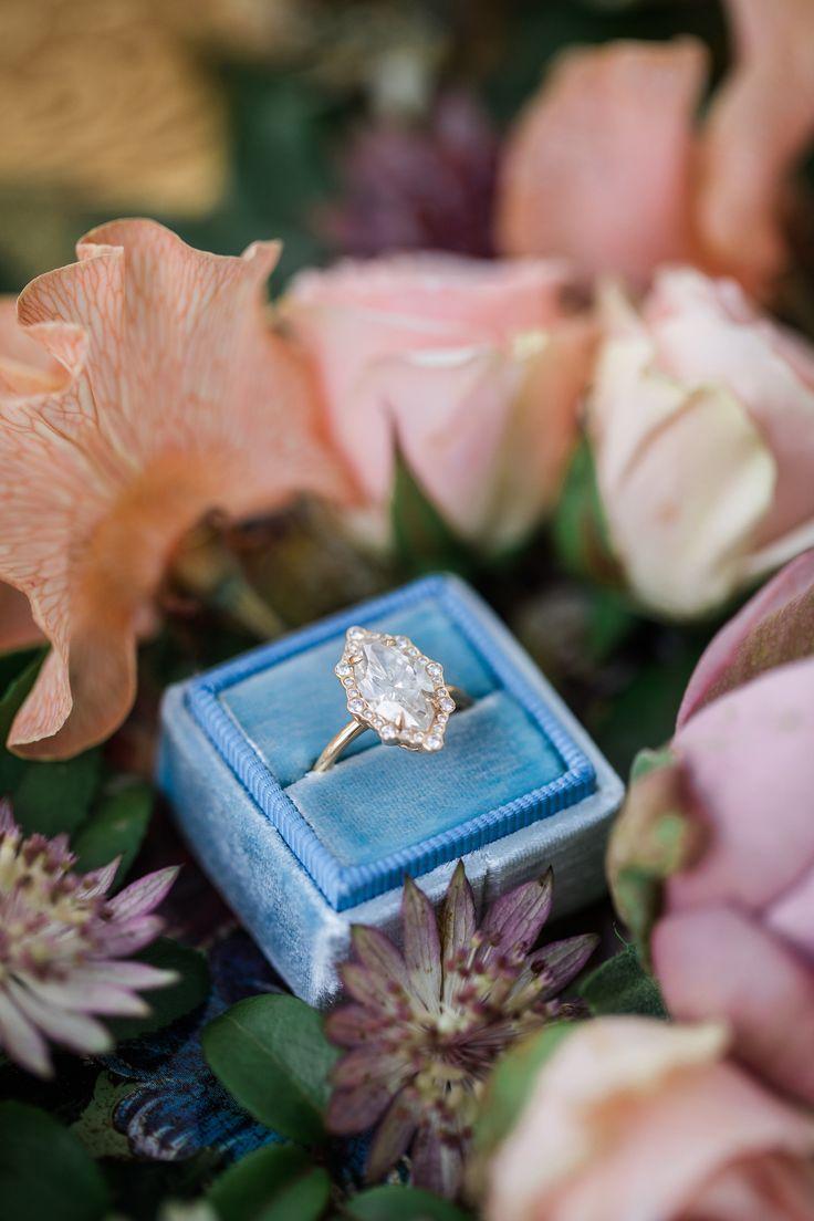 Elegant gold marquise-cut engagement ring: Utterly Romantic Spring Bridal Shoot...