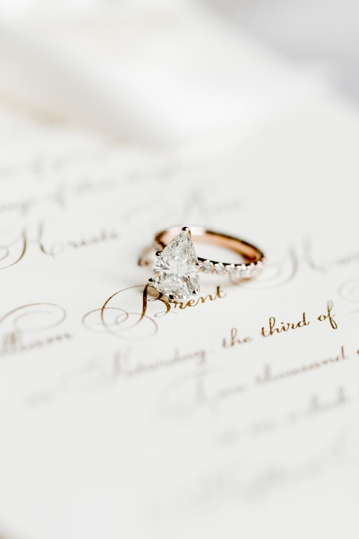 Elegant pear-cut engagement ring: Photography: Mint Photography - www.mymintphot...