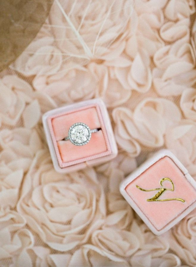 Elegant round-cut diamond ring in a blush ring box by The Mrs. Box: www.stylemep...