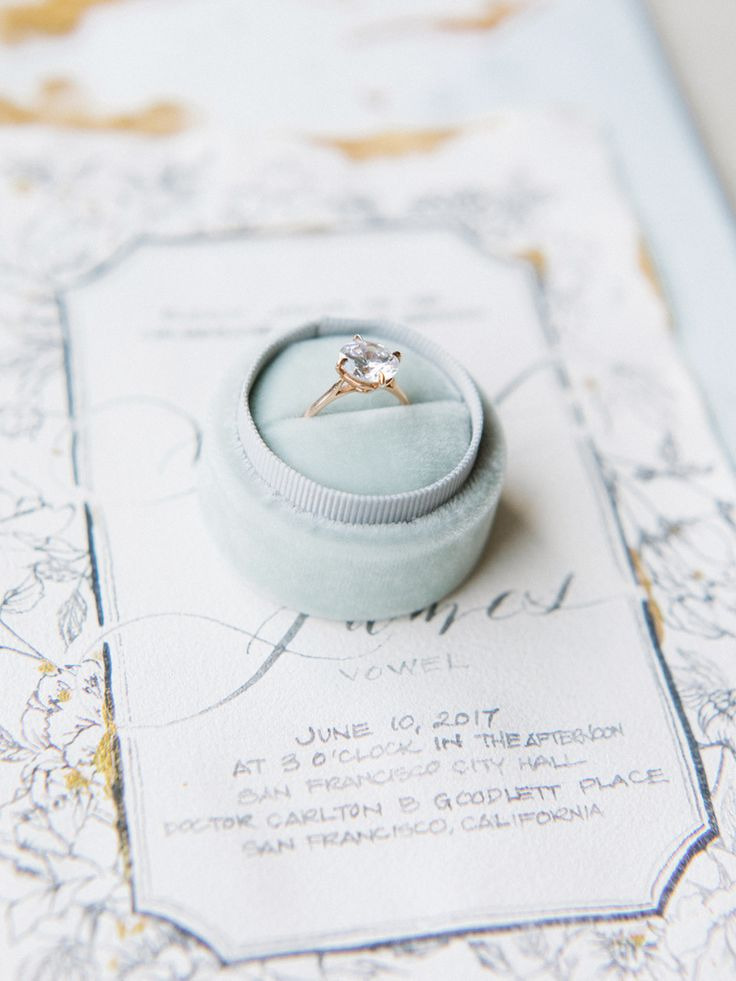 Elegant round-cut diamond ring: Photography: Tenth & Grace - www.tenthandgrace.....