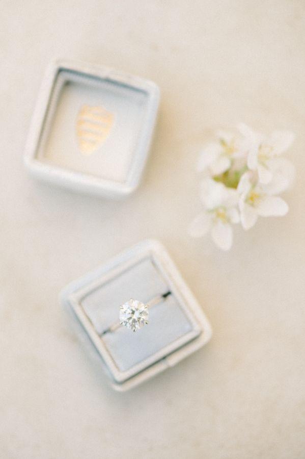 Elegant round-cut engagement ring: www.stylemepretty... Photography: Elizabeth F...