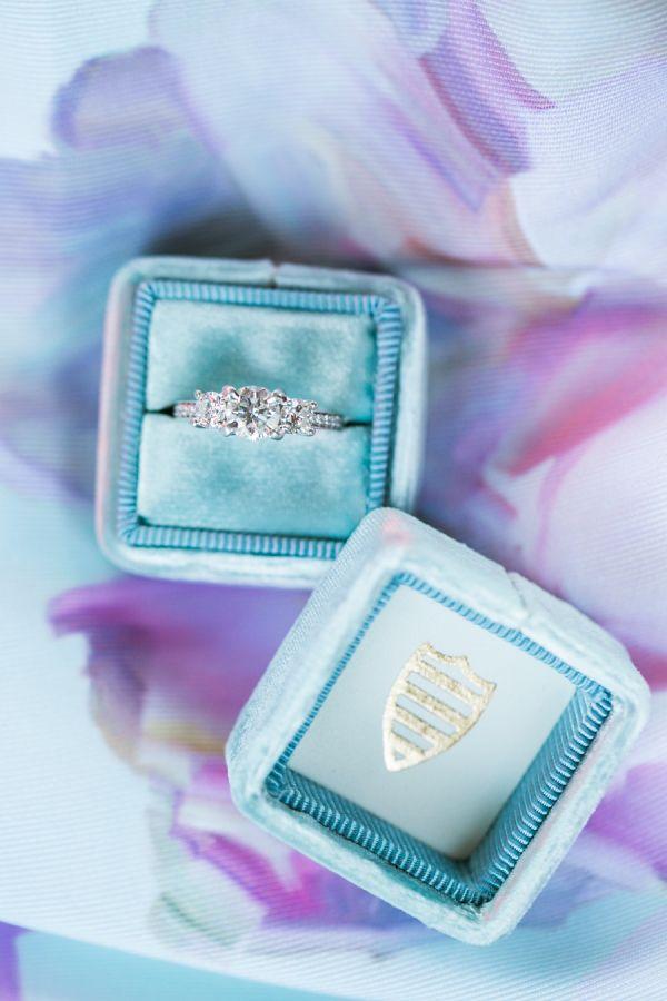 Elegant three stone diamond ring: www.stylemepretty... Photography: Jasmine Lee ...