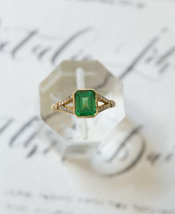 Emerald cushion cut gold band ring: www.stylemepretty...