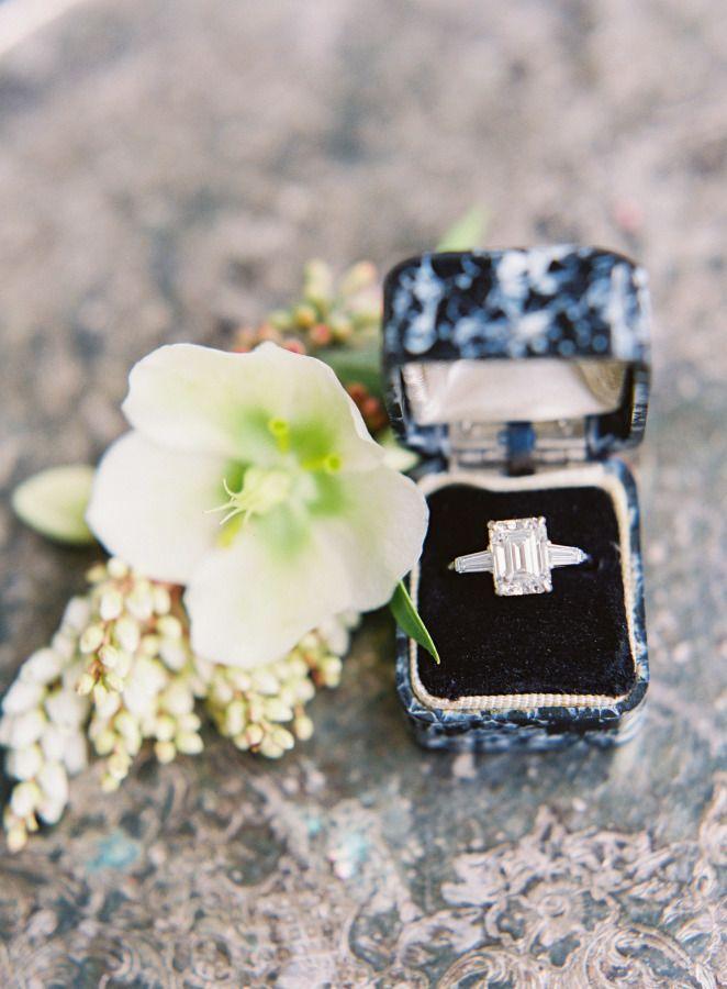 Emerald-cut diamond engagement ring: www.stylemepretty... Photography: Kayla Bar...