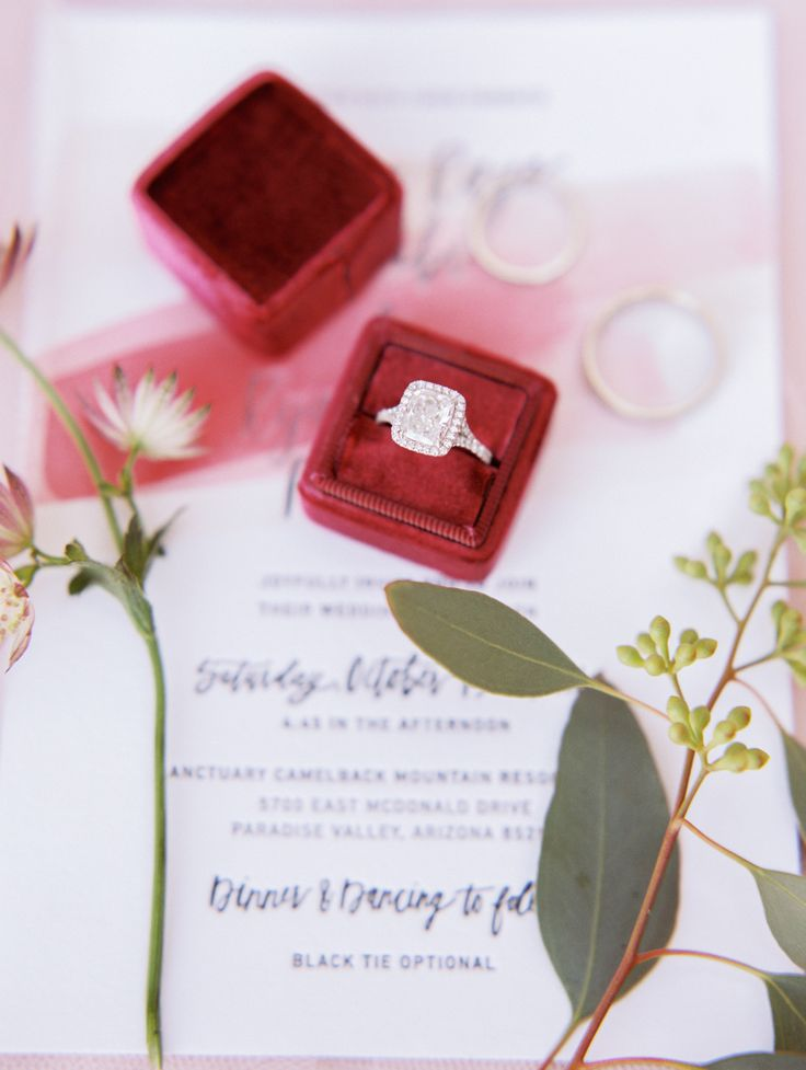 Emerald-cut diamond ring in a halo setting: Invitations: Goodheart Design - www....
