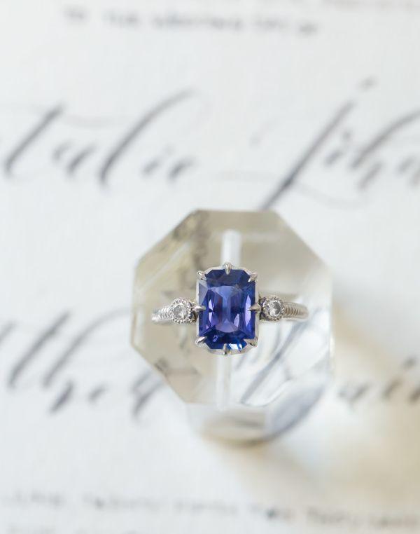 Emerald cut sapphire white gold engagement ring: www.stylemepretty...
