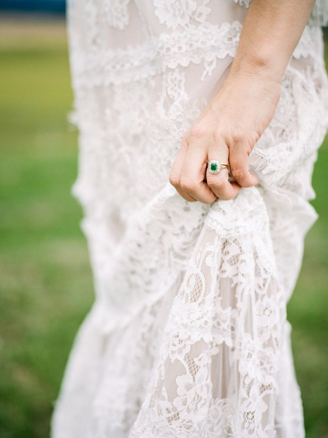 Emerald halo setting engagement ring: www.stylemepretty... Photography: Danford ...