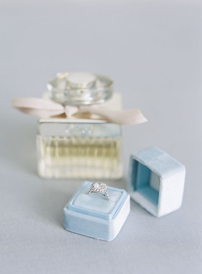 Engagement ring in a soft blue The Mrs. Box: www.stylemepretty... Photography: S...
