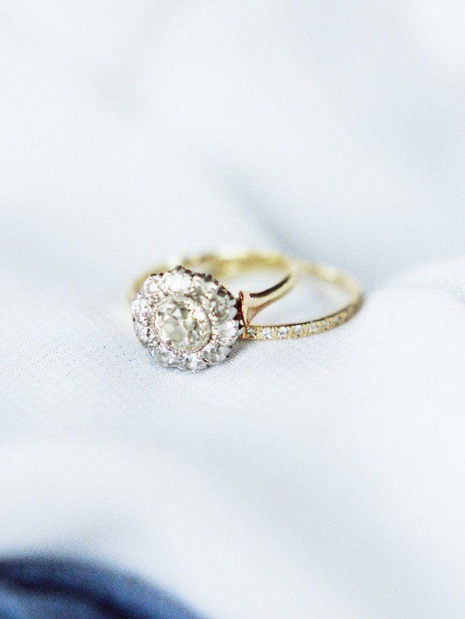 Flower diamond ring with gold band: www.stylemepretty... Photography: Ashley Sla...