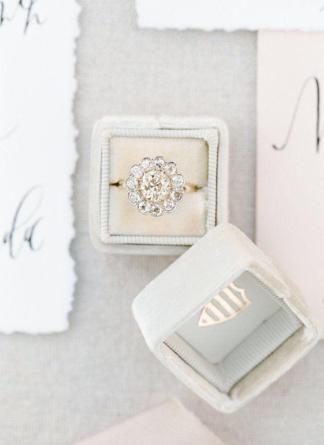 Flower inspired diamond ring: www.stylemepretty... Photography: J. Layne - jlayn...