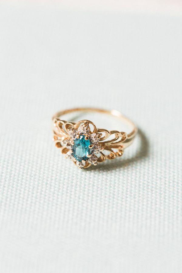 Gold aquamarine diamond ring: www.stylemepretty... Photography: Vito Lindo - vit...