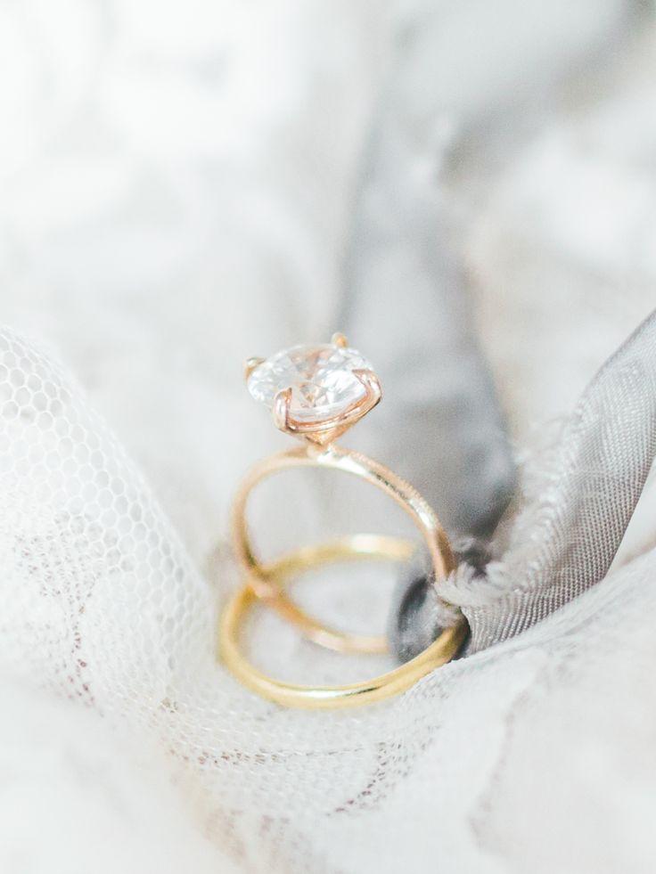 Gold diamond ring: Wedding Dress: Claire Pettibone - www.stylemepretty... Ring: ...