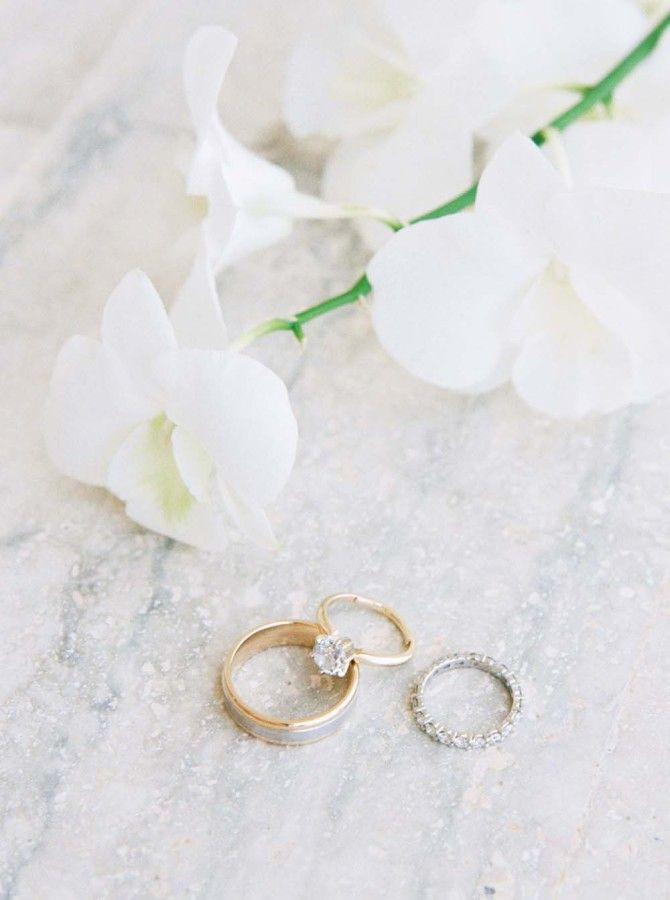 Gold elegant engagement ring: www.stylemepretty... Photography: Melissa Jill - w...