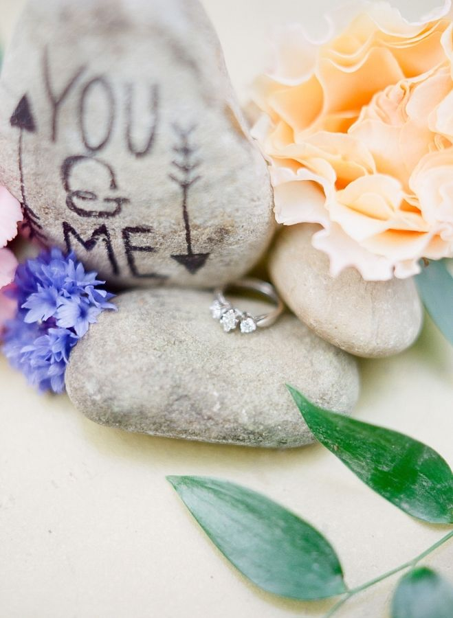 Gorgeous three diamond engagement ring: www.stylemepretty... Photography: Julie ...