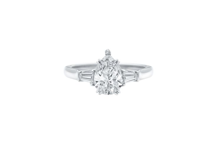 Harry Winston Classic Winston Pear-Shaped Engagement Ring with Tapered Baguette ...