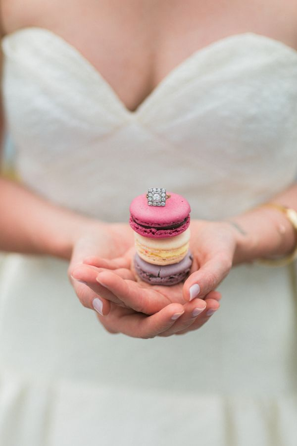 Macaroons and diamond rings, what more could you need? www.stylemepretty... Phot...