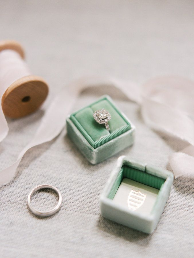 Mint The Mrs. Box and diamond ring in a halo setting: www.stylemepretty... Photo...