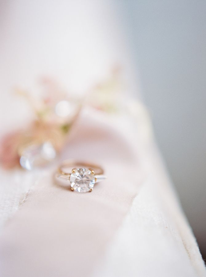 Modern circle-cut gold engagement ring: www.stylemepretty... Photography: Alexan...