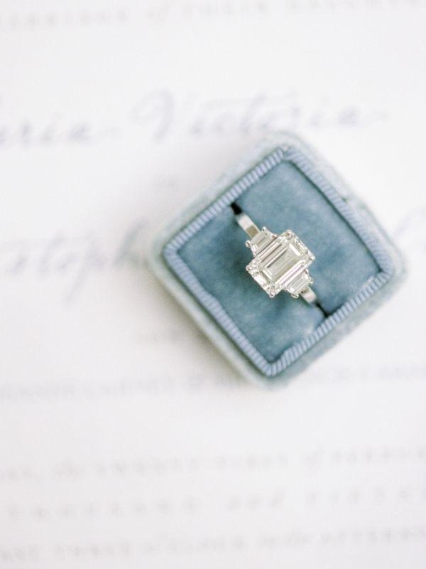 Modern emerald-cut engagement ring: www.stylemepretty...