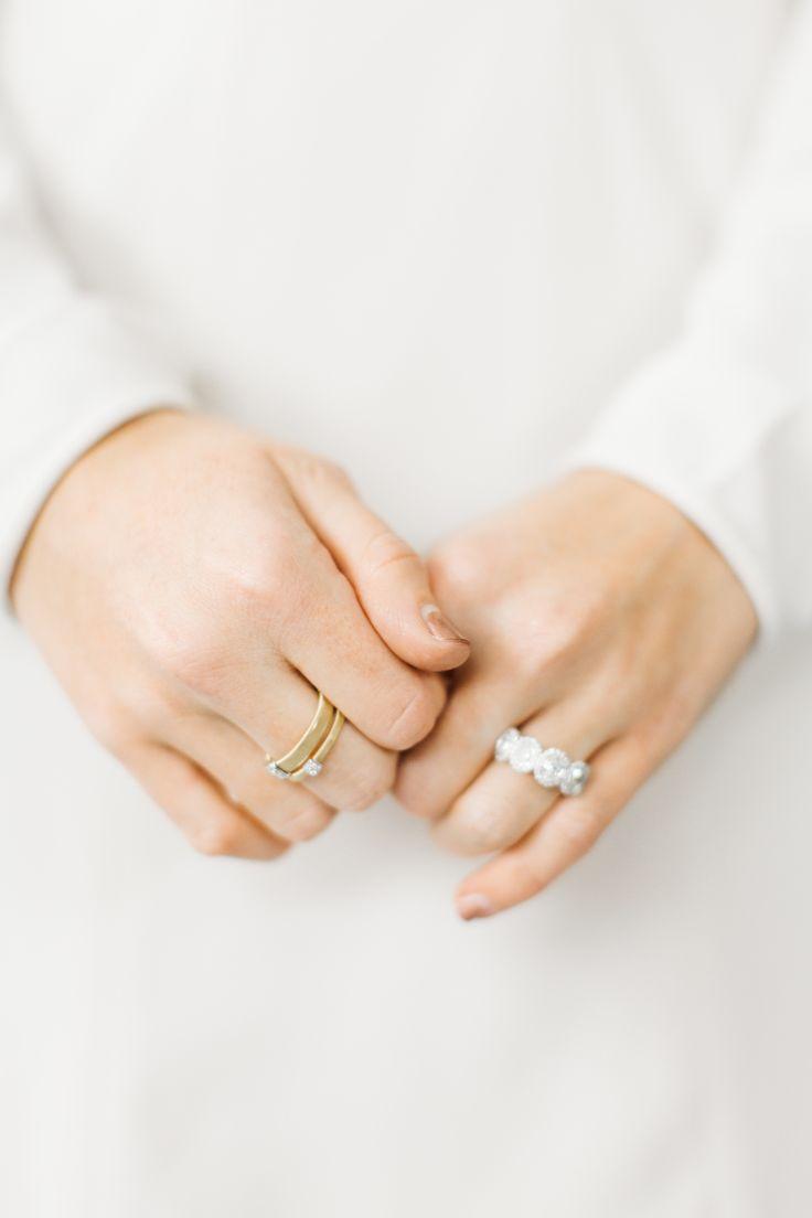 Modern multiple diamond ring: Hair & Makeup: Katie Livingston - www.stylemeprett...