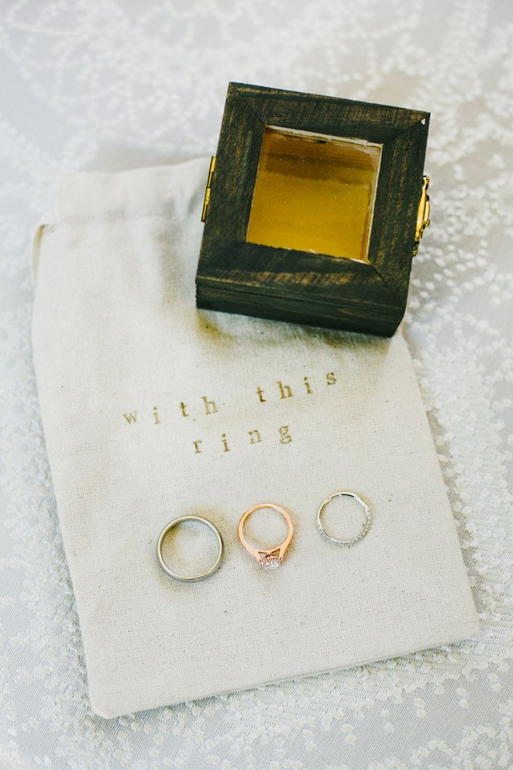Modern rose gold engagement ring and sterling silver wedding bands: Photography ...