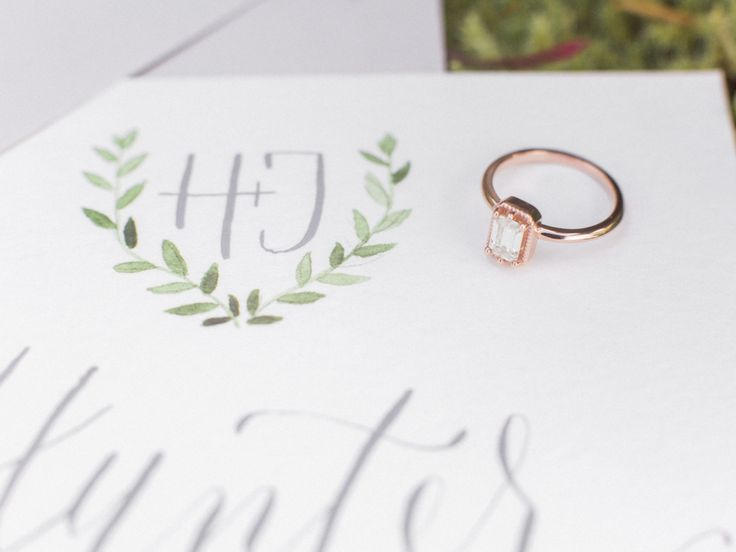 Modern rose gold engagement ring: www.stylemepretty...   Photography: Eden Willo...