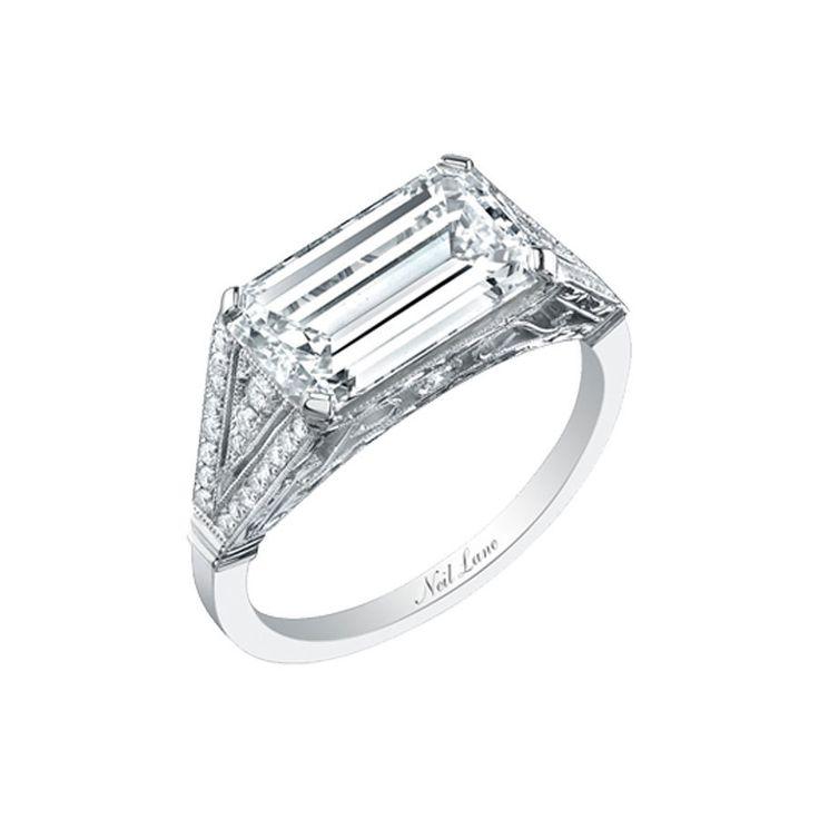 Neil Lane Emerald Cut Diamond Ring Horizontally Set in Platinum: www.stylemepret...