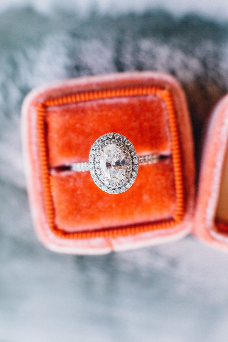 Oval-cut diamond in double halo setting: Rustic Elegant Santa Cruz Wedding - www...