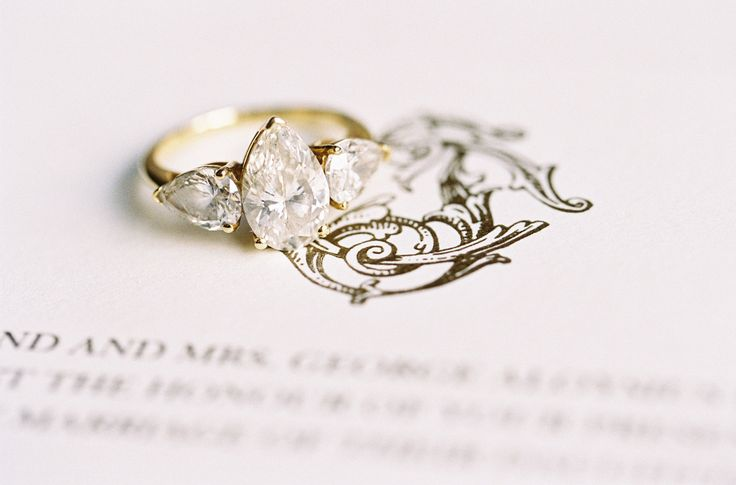 Pear cut gold engagement ring: www.stylemepretty... Photography: Kayla Barker - ...