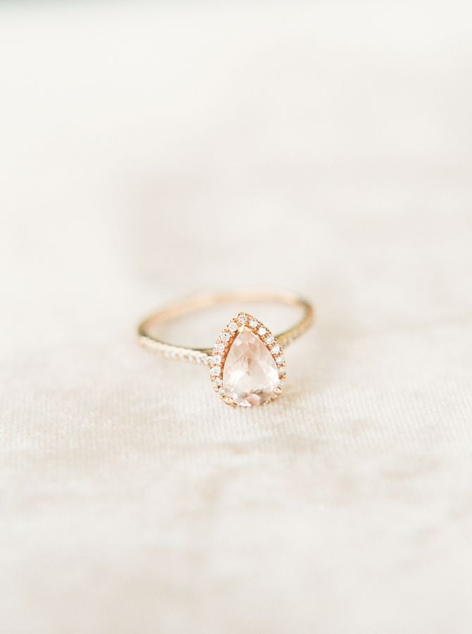Pear-cut gold engagement ring: www.stylemepretty... Photography: Kristen Kilpatr...