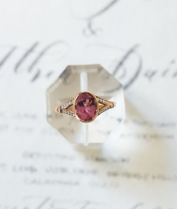 Pink tourmaline gold band engagement ring: www.stylemepretty...