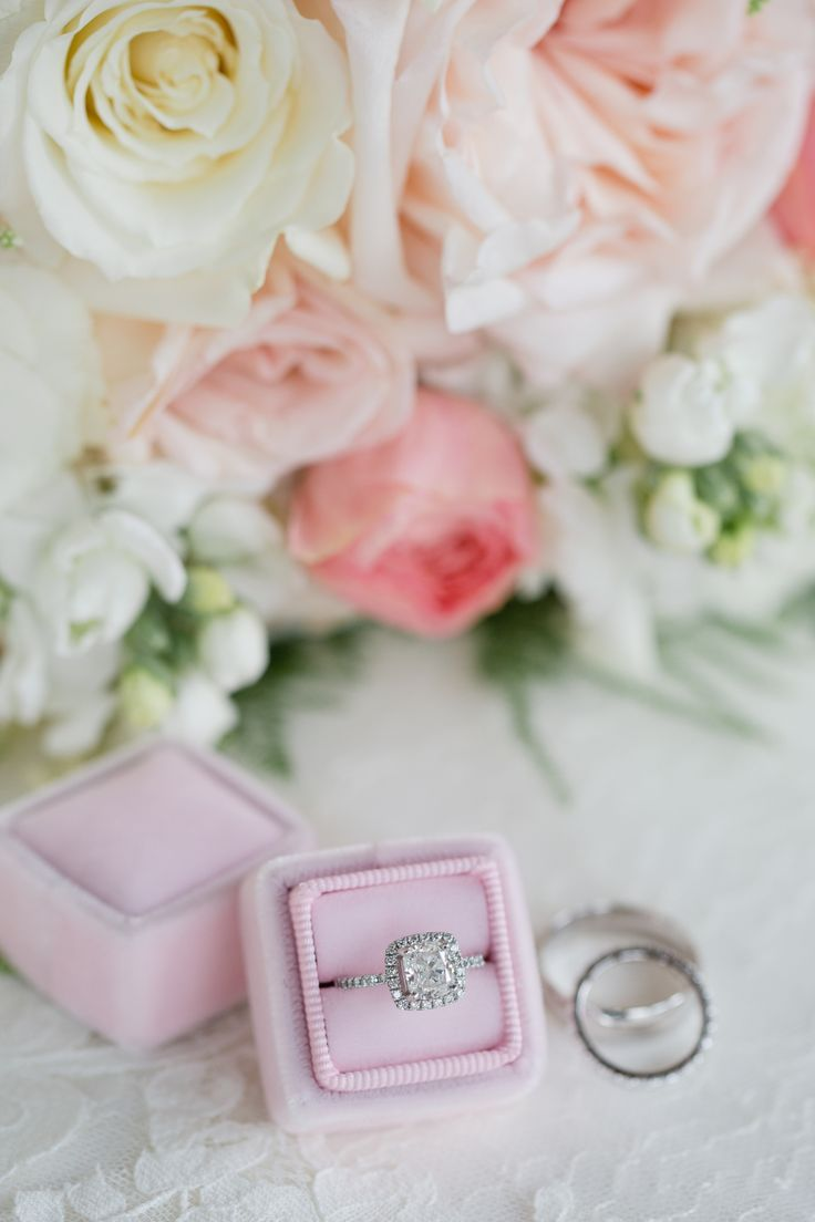 Princess-cut diamond ring in a halo setting: Photography : Danielle Coons Photog...