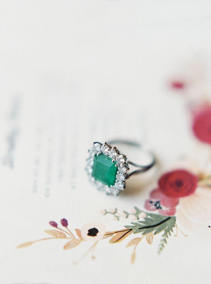 Princess-cut emerald stone: Colorful Garden Soiree  - www.stylemepretty...