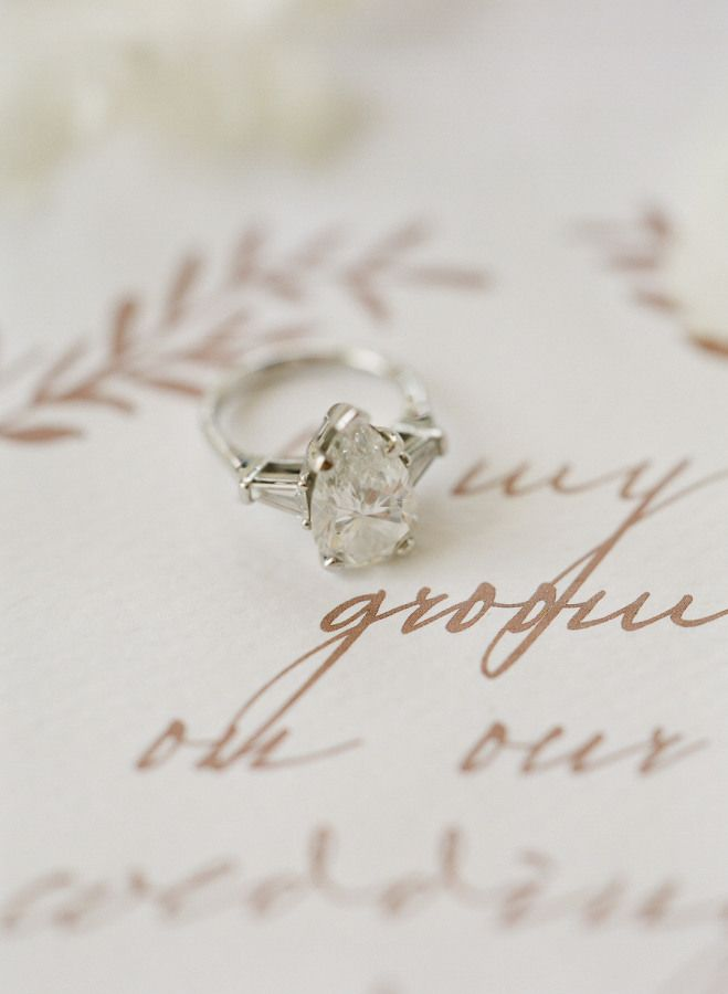 Romantic pear-cut engagement ring: www.stylemepretty... Photography: Les Anagnou...
