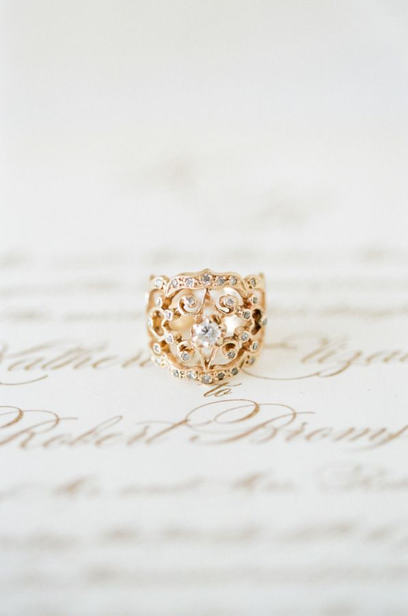 Romantic unique gold ring: www.stylemepretty... Photography: KT Merry - www.ktme...