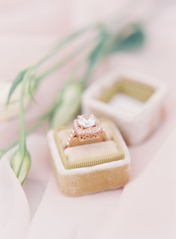 Rose gold diamond ring: www.stylemepretty...