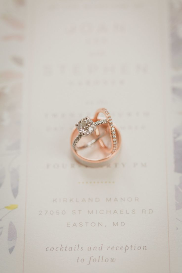Rose gold wedding bands and diamond ring: Photography: Alysia & Jayson Photograp...
