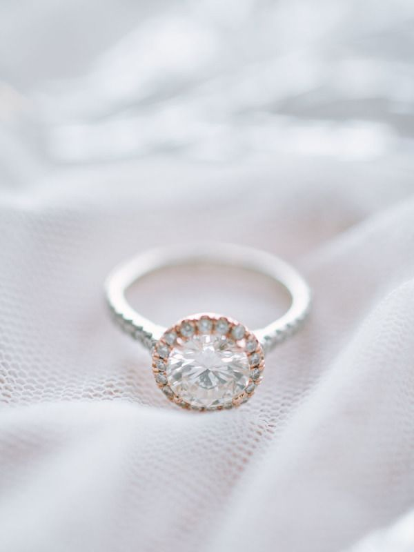 Round-cut diamond ring in a rose gold setting: www.stylemepretty...