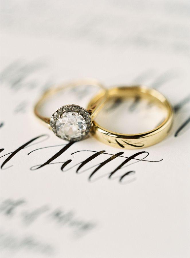 Round-cut gold band diamond ring: www.stylemepretty... Photography: Brett Heideb...