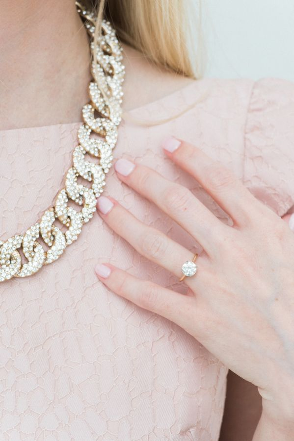 Round-cut gold engagement ring: www.stylemepretty... Photography: Shannon Moffit...