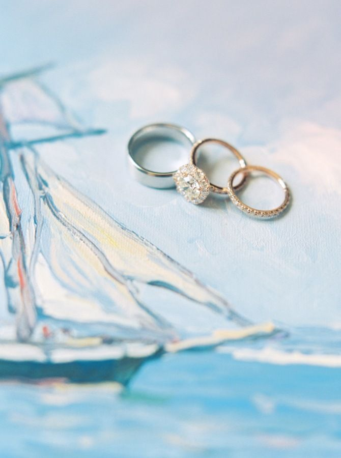 Round cut halo setting gold band diamond ring: www.stylemepretty... Photography:...