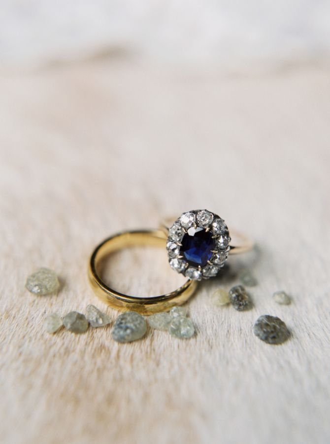 Royal blue diamond in halo setting: www.stylemepretty... Photography: Jeremiah a...