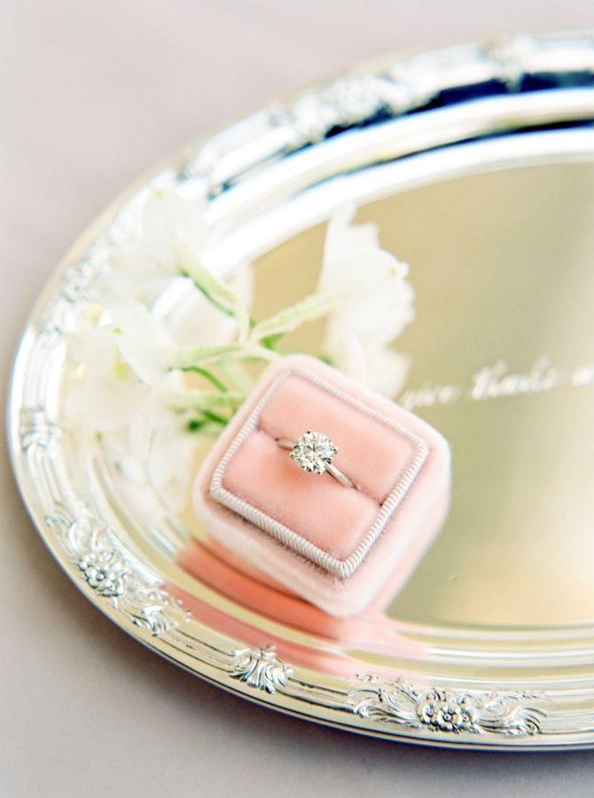 Simple round-cut diamond ring: www.stylemepretty... Photography: Michelle Boyd -...